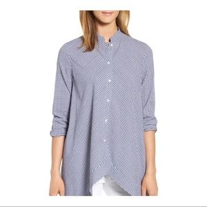 Anne Klein Size 6 Blue Gingham Tunic Blouse